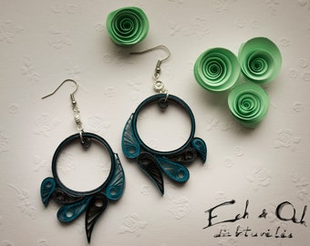 Paper quilling eco-friendly turqoise black dangle earrings