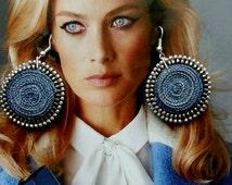 Textile earrings blue , fiber earrings round -Textile jewelry /Blue Denim Earrings/Jeans Earrings/Textile Earrings