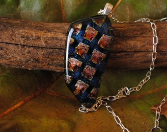 Red Gold and Black Checkered Dichroic Glass Pendant Necklace
