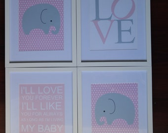 Pink and Grey Elephant Nursery Bedding Decor