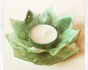 Recycled CD Tea Light Holder (Lily)