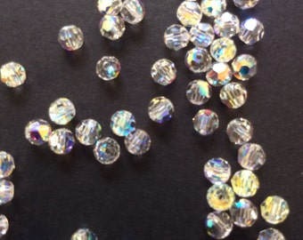Swarovski Crystal Faceted Round Beads, 4mm size, Ab finish, pack of 50