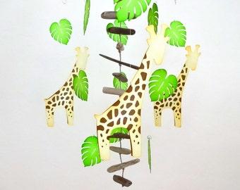 Giraffe Baby Mobile, Baby Mobile, Safari Nursery, Jungle Nursery, Hand made, Mobile, Baby gift, baby shower, Driftwood