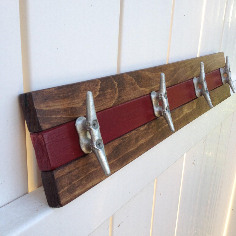 Nautical Boat Cleat Coat Rack, Walnut And Garnet, Towel Rack, Hat Rack,  Book Bag Rack, Or Key Rack Part 58