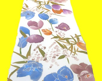 Tulips Silk scarf. Watercolors flowers. Hand painted white silk scarf. Floral scarf Silk neck scarves Orange, blue, white, green.