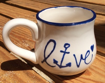 "Anchor and Sailboat ""Live"" ceramic Mug"