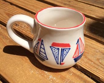 Sailboats in Red Ceramic Mug