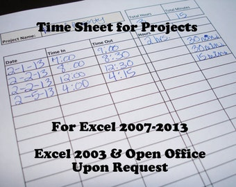 Time Sheet for Projects