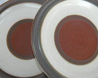 Set of 6 Vintage Denby Potters Wheel Rust Red Dinner Plates Natural England