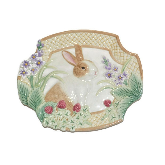 Fitz and floyd botanical bunny canape plate easter by for Fitz and floyd canape plate