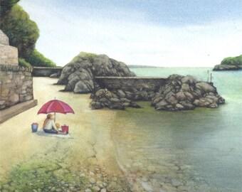 Seashore watercolour | Original painting | Cwm yr Eglwys bay | Pembrokeshire landscape painting | Welsh coastline picture | Small wall art