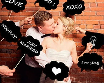 Photo Booth accessory, black table, 10 message chalkboard signs