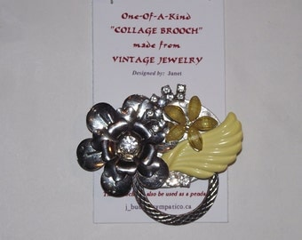 Yellow & Silver COLLAGE BROOCH (or pendant) 1-of-A Kind Designer / with Eye Glass Holder..#47.