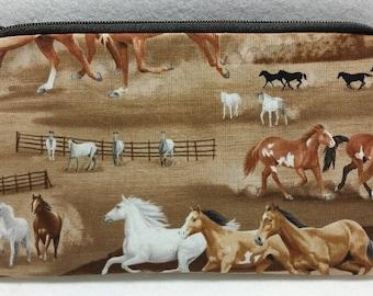 Zipper Pouch, Cosmetic Bag, Pencil Case, Horses, Pony, Animals,  Medication Bag, Gadget Bag, Nylon Lining, Zipper Closure