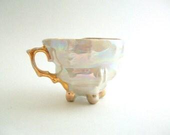 Vintage Teacup, Vintage Demitasse, White Teacup, White Demitasse, White & Gold Demitasse, White and Gold Teacup, Opalescent, Orphan Teacup