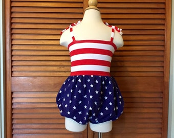 RTS 18-24 mo Bubble Romper, Sunsuit, Baby Bubble Romper, Toddler Bubble Romper, Baby Sunsuit, Toddler Sunsuit, Stars and Stripes