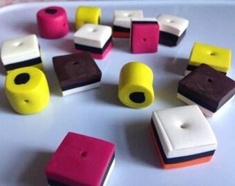 50 Large liquorice allsorts beads, Polymer clay, Fimo