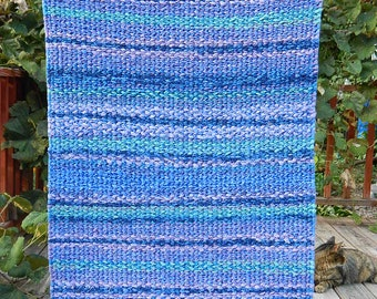 Rag Rug in Purples, Greens, and Blues