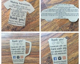 Custom Tag FILE For Your Shop / Washing Instructions/ Decal Instructions / Cup Care Instructions
