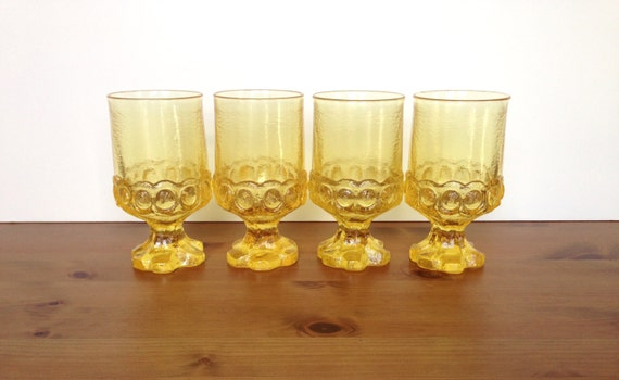 Madeira by Franciscan water goblets heavy textured glasses set of 4