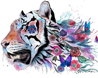 Tiger and flowers- signed Art Print