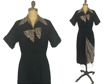 Vintage 1940's Dress, 40's Dress, Black Dress, Rayon Dress, Medium Dress, Large Dress, Bow, Holiday Dress