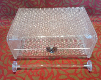 1950s Clear Lucite Jewellery Case.