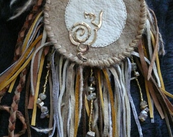 Reach For The Moon - Goddess Freyja - Fringed Leather Medicine Pouch with Moose Suede Moon