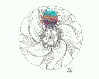 Mandala Dynamic Floral adult colouring download, Flower mandala colouring sheet, de stress and relaxing, mindful colouring, intricate art