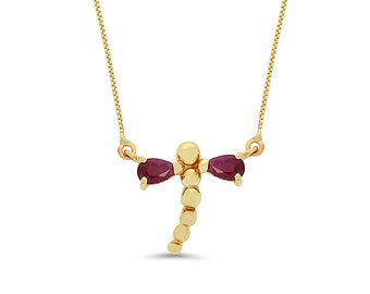 14k solid gold Dragonfly Necklace with Genuine stones.