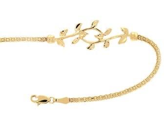 14k solid gold leaf bracelet. Leaf jewelry.
