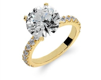 14k solid gold cubic zirconia engagement ring. promise ring,