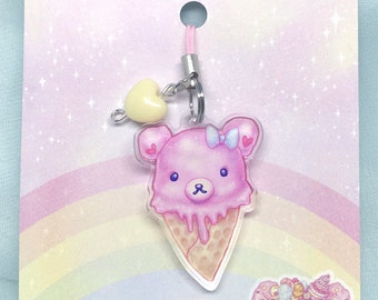 Pink Bearcone Keychain / Cell Phone / DS Charm