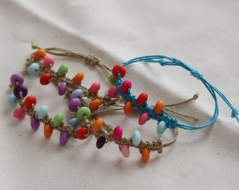 Color Frenzy Bead Waxed Cotton Bracelet