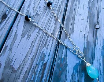 Jade Teardrop Necklace, Swarvoski crystals, Wire wrapped necklace, Tear drop pendant, Silver wrapped necklace, Minimalist necklace