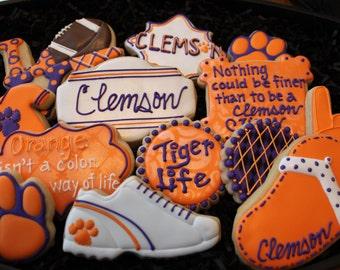 Clemson football cookies, Clemson Tiger cookies, College football cookies, custom cookies, college football tailgating cheerleading