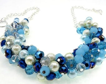 Blue Crystal Pearl Bridal Necklace, Crystal and Pearl Bridal Jewelry, Beaded Necklace, Blue Chunky Pearl Necklace, Wedding Pearl Jewelry,