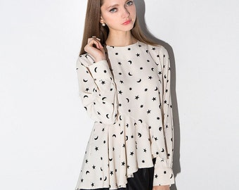 Beige Moon and Star Blouse
