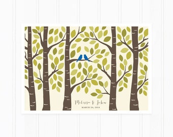 Guest Book - Wedding Guest Book Alternative Poster - Guestbook Tree in Royal Blue