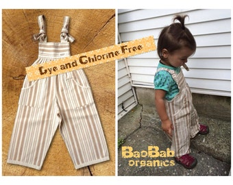 Organic Baby Clothes, Neutral gender Overalls, natural stripes