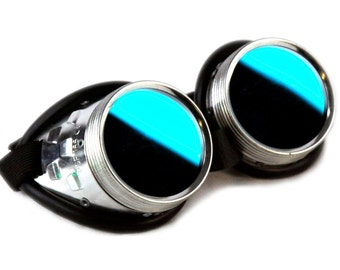DSF Standard Uber Goggles - Metal Teal Industrial Cyber Goth Punk Cybergoth Cyberpunk real Steampunk Rave custom modular light up 5412