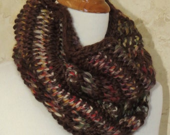 SALE....Tuscany Bay Scarf, Tuscany Bay Crochet Cowl, Brown and Variegate Earth tones Cowl