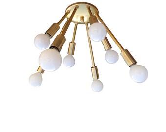 Atomic Narrow 8 Arm Flush-Mount Sputnik Ceiling Light Mid Century Starburst