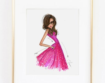 Fashion Illustration Print, Pink Dress, 8x10""