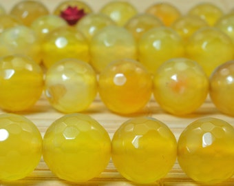 37 pcs of   Natural Yellow Agate faceted round beads in 10mm