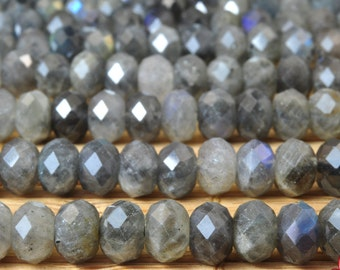 92 pcs of Natural Labradorite faceted rondelle beads in 4x6mm (64 Face)