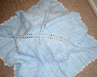 Baby Blue Baby Afghan with White Trim