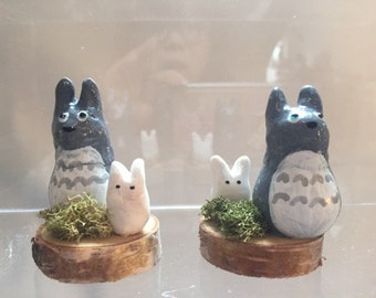 Totoro figure with ghost bunny