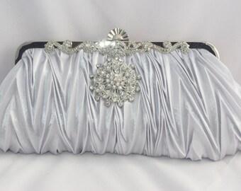 Silver Wedding Clutch, Silver Evening Clutch, Silver Bridesmaid Clutch, Silver Crystal Handbag, Silver Bridal Wedding Clutch, Bridal Clutch