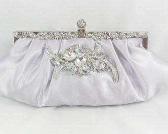Silver Bridal Clutch, Crystal Wedding Clutch, Wedding Handbag Swarovski Crystal Clutch Bridal Handbag Formal Satin Clutch Grey Wedding Purse